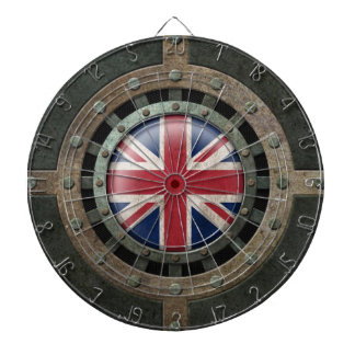 Industrial Steel British Flag Disc Graphic Dart Boards