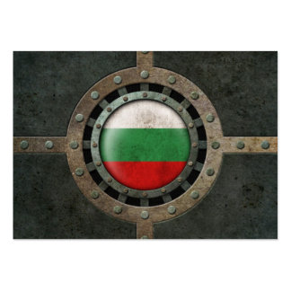 Industrial Steel Bulgarian Flag Disc Graphic Business Card Template