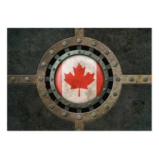 Industrial Steel Canadian Flag Disc Graphic Business Card Template