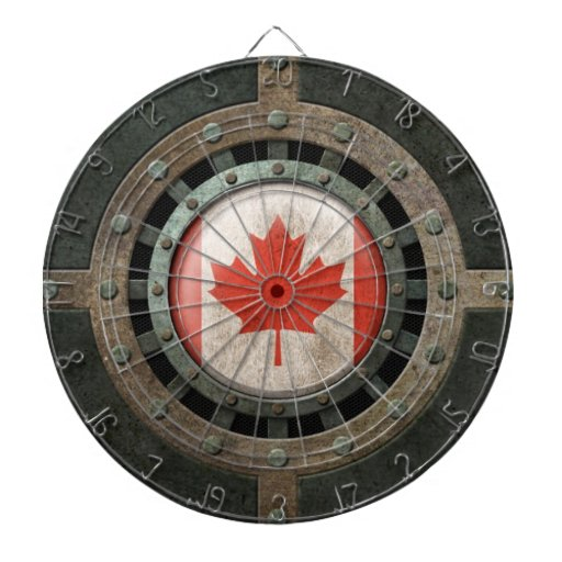 Industrial Steel Canadian Flag Disc Graphic Dartboard