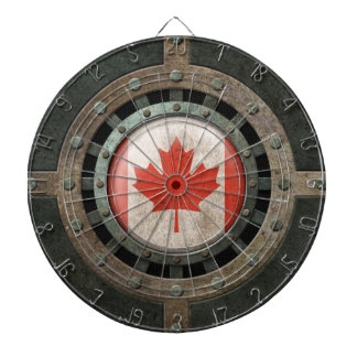Industrial Steel Canadian Flag Disc Graphic Dartboard With Darts