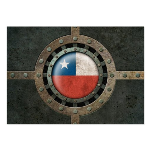 Industrial Steel Chilean Flag Disc Graphic Business Card Template
