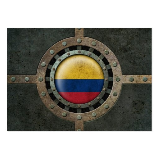Industrial Steel Colombian Flag Disc Graphic Business Cards