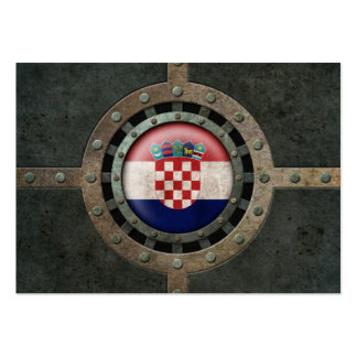 Industrial Steel Croatian Flag Disc Graphic Business Card Templates