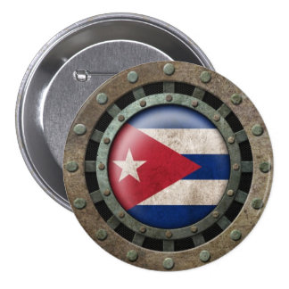 Industrial Steel Cuban Flag Disc Graphic 3 Inch Round Button