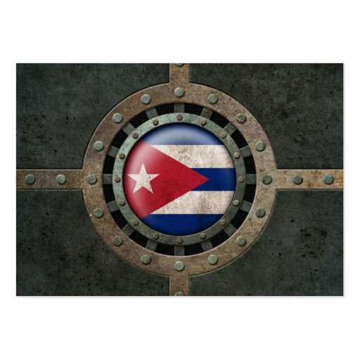 Industrial Steel Cuban Flag Disc Graphic Business Card Template