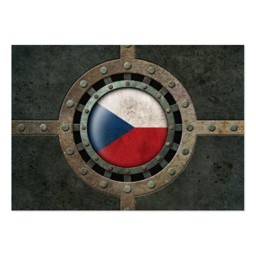 Industrial Steel Czech Republic Flag Disc Graphic Business Card