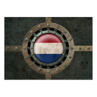 Industrial Steel Dutch Flag Disc Graphic Business Card Template