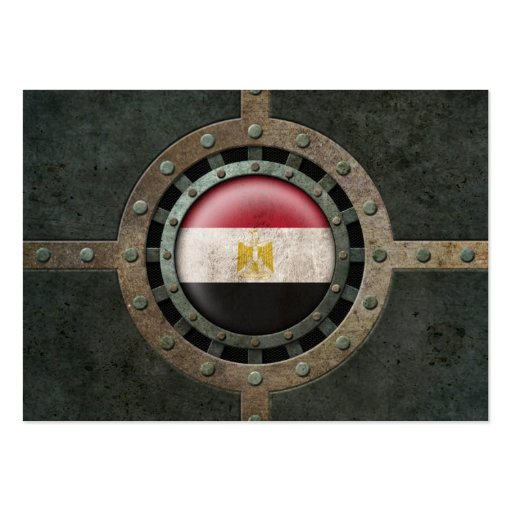 Industrial Steel Egyptian Flag Disc Graphic Business Cards
