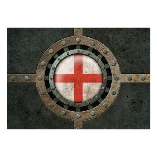 Industrial Steel English Flag Disc Graphic Business Cards