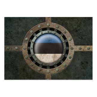 Industrial Steel Estonian Flag Disc Graphic Business Card Template