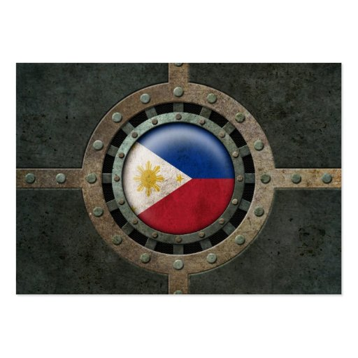 Industrial Steel Filipino Flag Disc Graphic Business Card Template
