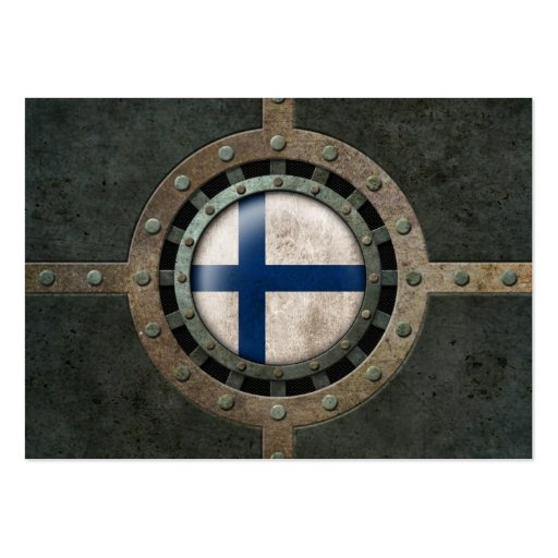 Industrial Steel Finnish Flag Disc Graphic Business Card Template