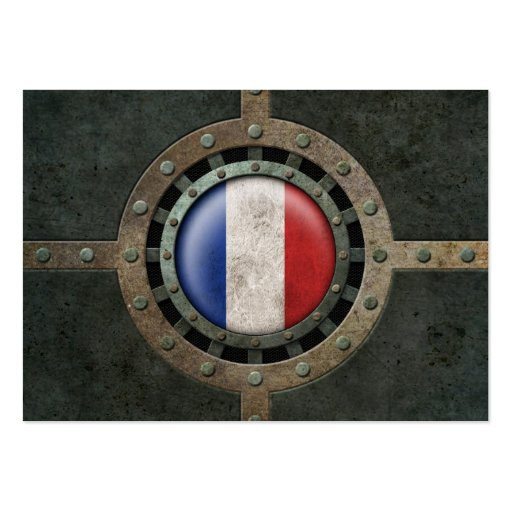 Industrial Steel French Flag Disc Graphic Business Card Templates