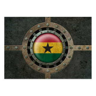 Industrial Steel Ghana Flag Disc Graphic Business Card Templates