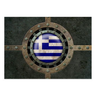 Industrial Steel Greek Flag Disc Graphic Business Cards