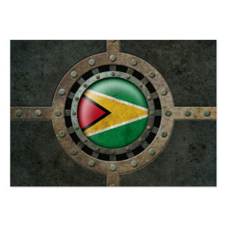 Industrial Steel Guyana Flag Disc Graphic Business Card Template