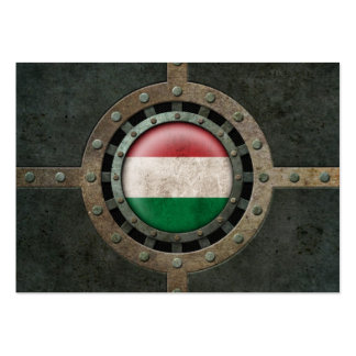 Industrial Steel Hungarian Flag Disc Graphic Business Card Template