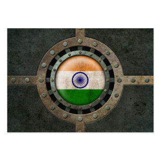 Industrial Steel Indian Flag Disc Graphic Business Card Templates