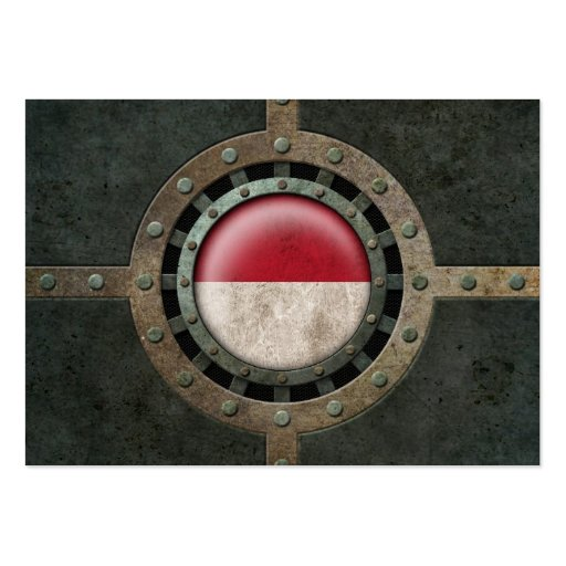 Industrial Steel Indonesian Flag Disc Graphic Business Cards