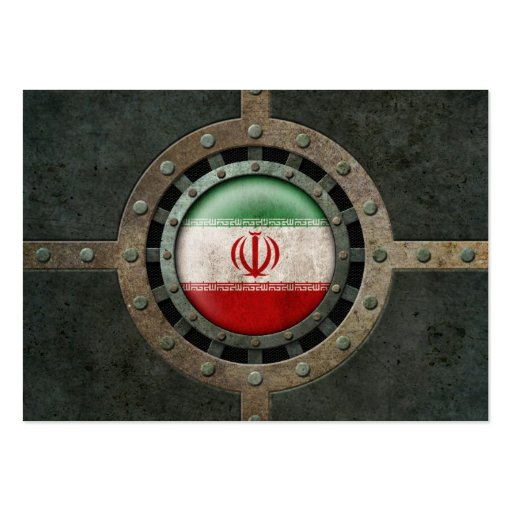 Industrial Steel Iranian Flag Disc Graphic Business Card Template