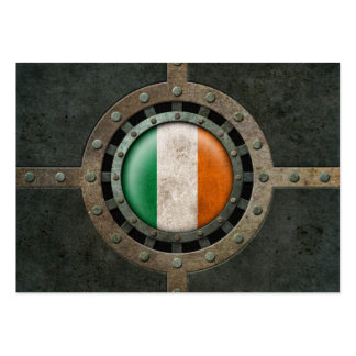 Industrial Steel Irish Flag Disc Graphic Business Cards