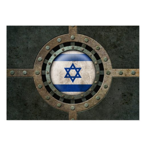 Industrial Steel Israeli Flag Disc Graphic Business Card Templates