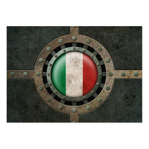 Industrial Steel Italian Flag Disc Graphic Business Card Templates