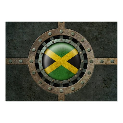 Industrial Steel Jamaican Flag Disc Graphic Business Card Template