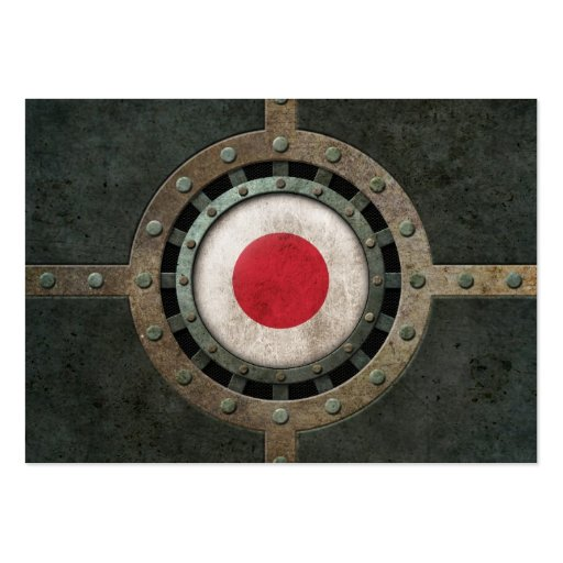 Industrial Steel Japanese Flag Disc Graphic Business Card Templates