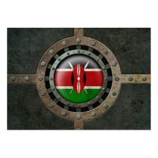 Industrial Steel Kenyan Flag Disc Graphic Business Card Templates