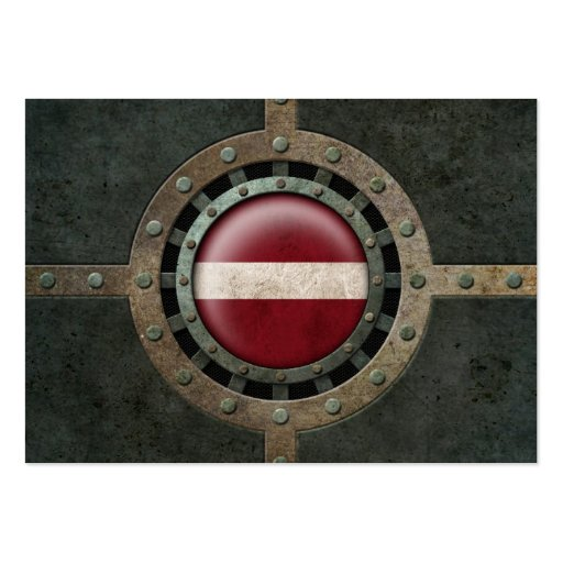 Industrial Steel Latvian Flag Disc Graphic Business Card