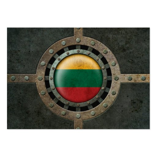 Industrial Steel Lithuanian Flag Disc Graphic Business Card Templates