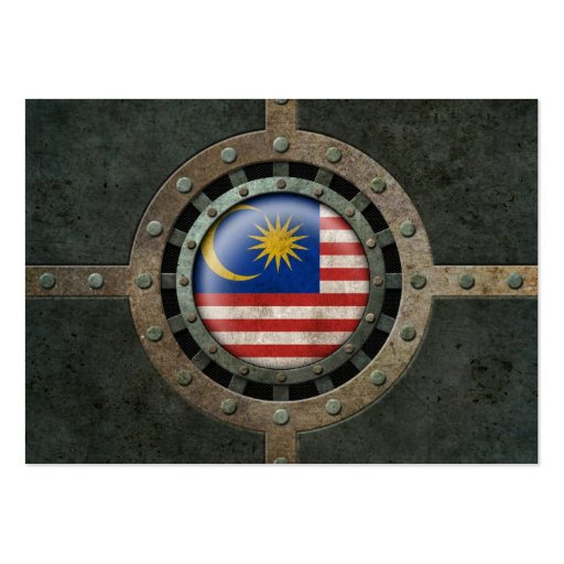 Industrial Steel Malaysian Flag Disc Graphic Business Card Templates
