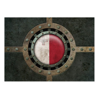 Industrial Steel Maltese Flag Disc Graphic Business Card Template