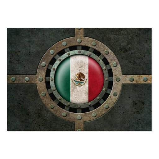 Industrial Steel Mexican Flag Disc Graphic Business Cards