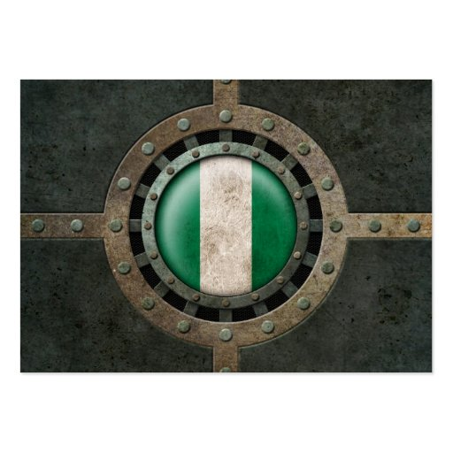 Industrial Steel Nigerian Flag Disc Graphic Business Cards