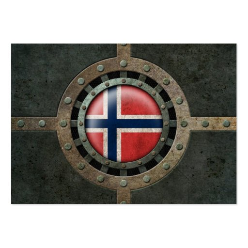 Industrial Steel Norwegian Flag Disc Graphic Business Card Templates