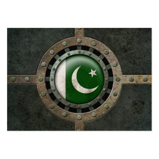 Industrial Steel Pakistani Flag Disc Graphic Business Card Template