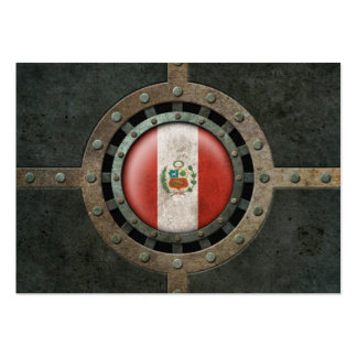 Industrial Steel Peruvian Flag Disc Graphic Business Card Templates