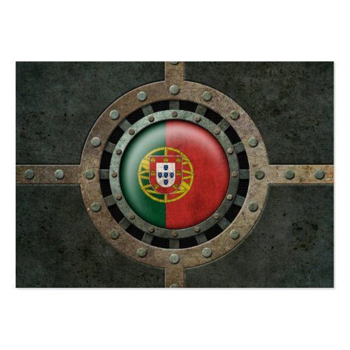 Industrial Steel Portuguese Flag Disc Graphic Business Card
