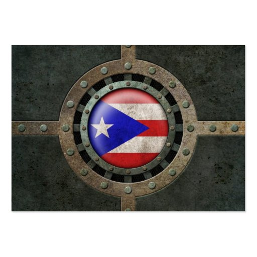 Industrial Steel Puerto Rican Flag Disc Graphic Business Card Template