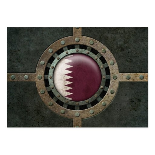 Industrial Steel Qatari Flag Disc Graphic Business Cards