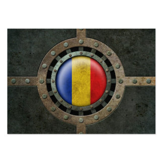 Industrial Steel Romanian Flag Disc Graphic Business Card