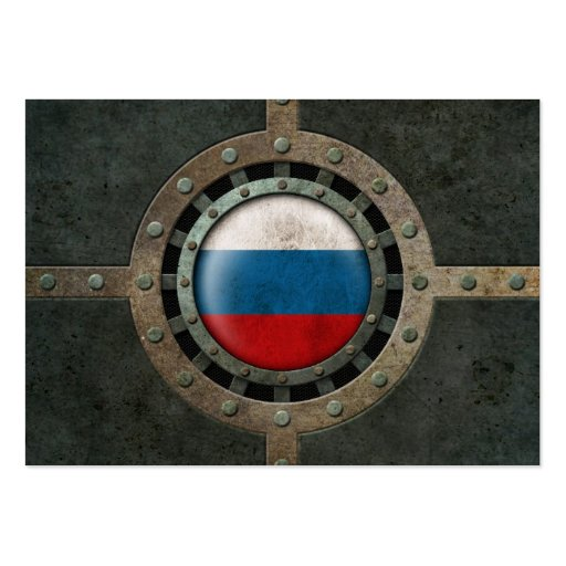Industrial Steel Russian Flag Disc Graphic Business Cards