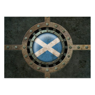 Industrial Steel Scottish Flag Disc Graphic Business Card Templates