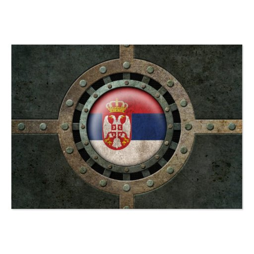 Industrial Steel Serbian Flag Disc Graphic Business Cards
