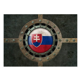 Industrial Steel Slovakian Flag Disc Graphic Business Card Templates