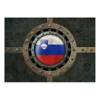Industrial Steel Slovenian Flag Disc Graphic Business Card Templates