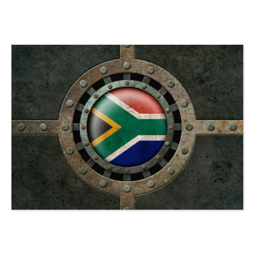 Industrial Steel South African Flag Disc Graphic Business Card